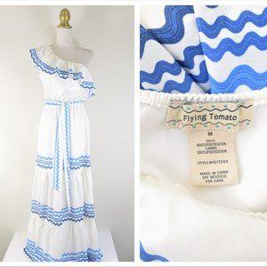 Flying Tomatoe White Blue Wave Belted Maxi Dress M